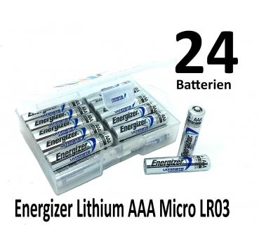 24 Energizer Lithium AAA Batterien in (Flachbox)