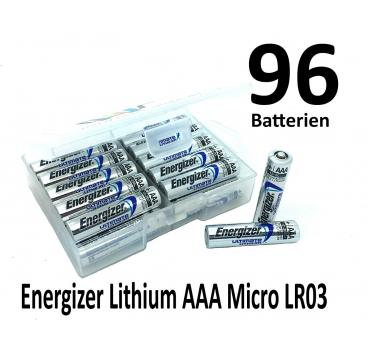 96 Energizer Lithium AAA Batterien in (Flachbox)