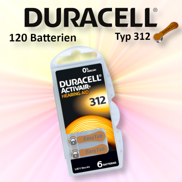 120 Duracell Easy Tap Typ 312